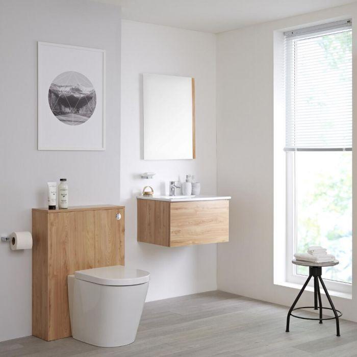 Badkamermeubel Set Hangend 60cm Goud Eiken Incl Wastafelmeubel & Toilet  + Stortbak + Ombouw - incl/excl. LED - Newington