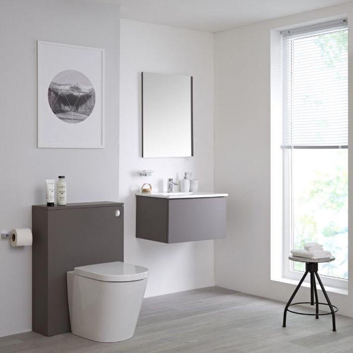Badkamermeubel Set Hangend 60cm Mat Grijs Incl Wastafelmeubel + Toilet + Stortbak + Ombouw  - incl/excl. LED - Newington