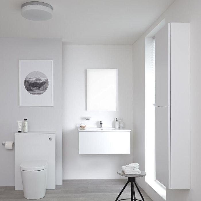 Badkamermeubelset 80cm Hangend Wit Wastafelmeubel en Toiletset met Kast en Spiegel   Newington