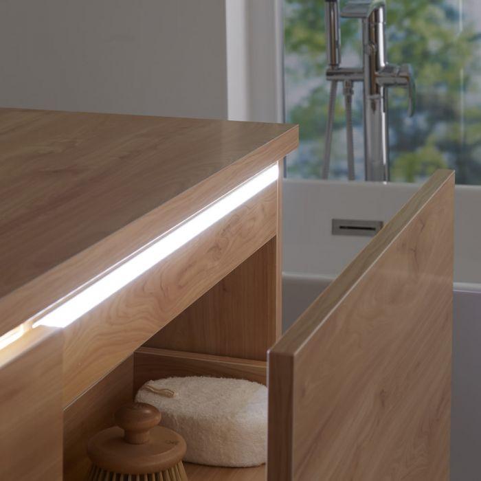 Wastafelmeubel + 2 x Opzetwastafel Hangend Goud Eiken 120cm – incl/excl. LED - Newington