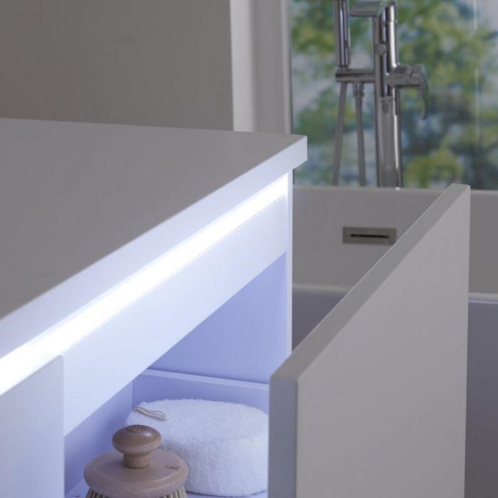 Wastafelmeubel + 2 x Opzetwastafel Hangend Mat Wit 120cm – incl/excl. LED - Newington