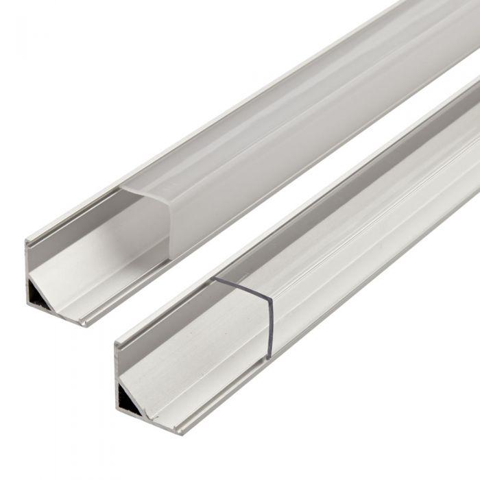 1m Aluminium Hoek Profiel Voor Led Stripverlichting - Doorzichtig Of Opaal Matt