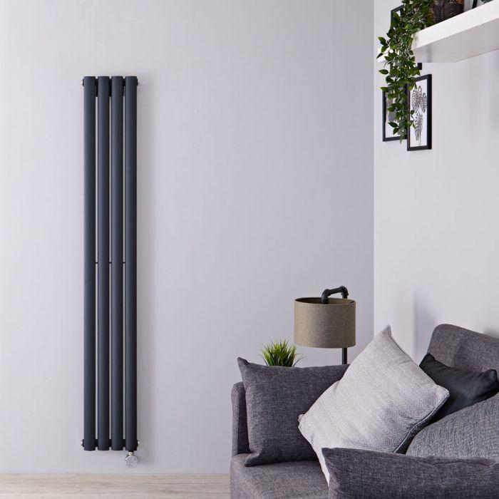 Designradiator Elektrisch Thermostatisch Verticaal Antraciet Staal 160 x 23,6cm | Revive