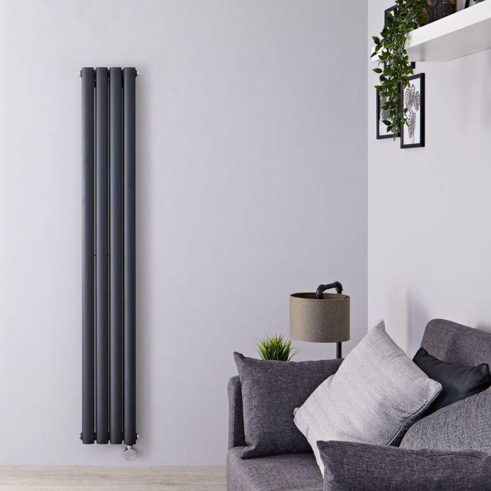 Designradiator Elektrisch Thermostatisch Verticaal Dubbelpaneel Antraciet 160cm x 23,6cm | Revive