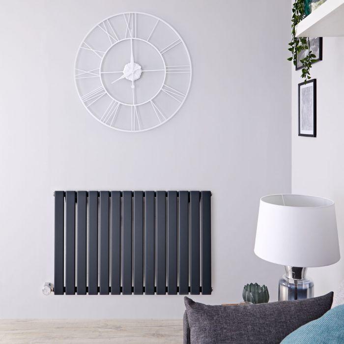 Designradiator Elektrisch Thermostatisch Horizontaal Antraciet 63,5cm x 98cm | Delta