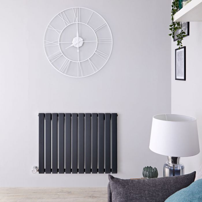 Designradiator Elektrisch Thermostatisch Horizontaal Antraciet 63,5cm x 84cm | Delta