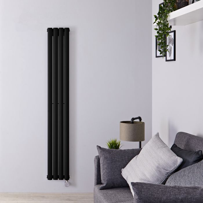Designradiator Elektrisch Thermostatisch Verticaal Zwart 160cm x 23,6cm   Revive