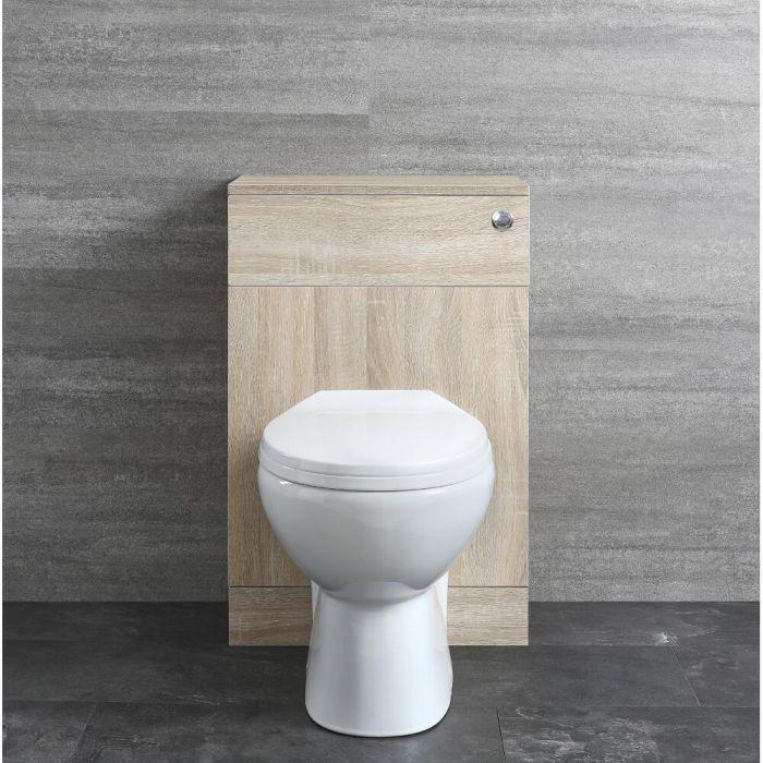Staand Toilet | Covelly Stortbak Ombouw Dubbele Spoelknop Eiken 50cm | Classic Oak
