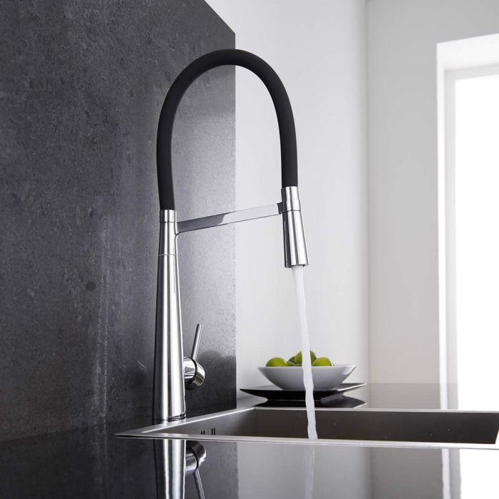Keukenmengkraan met Flexibele Uitloop Zwart / Chroom