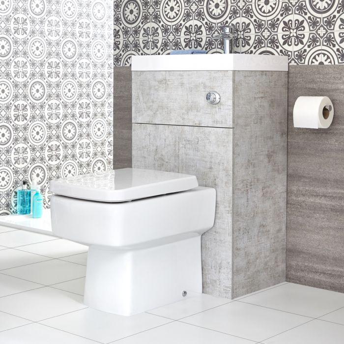 Toilet Vierkant met ingebouwde wastafel 50 x 86 x 87,5cm Betongrijs | Cluo