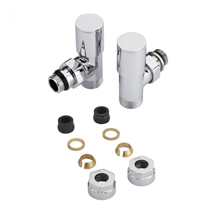 Radiatorkranen Haaks Modern Chroom met 14mm Adapters