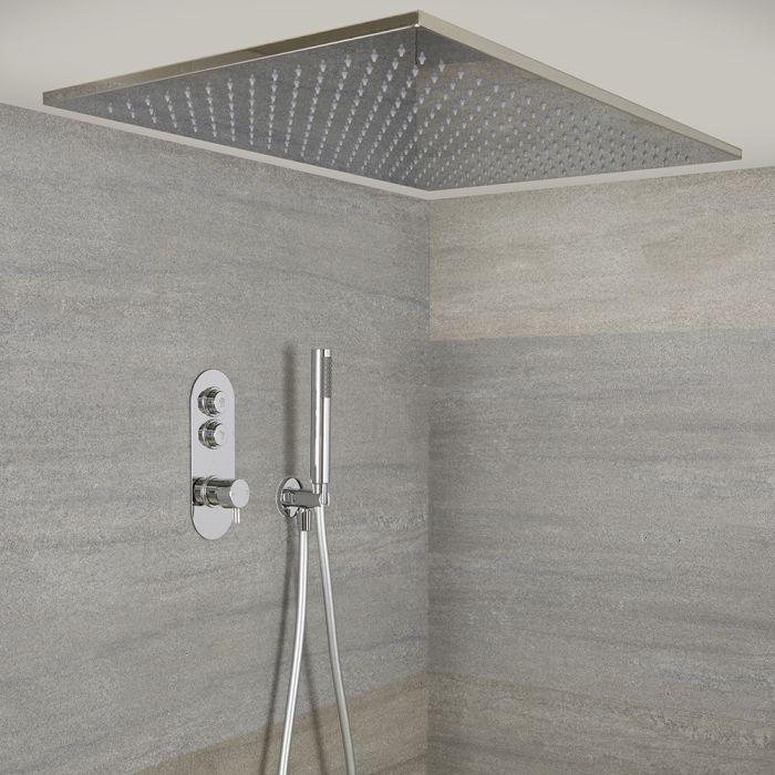 Idro 2-weg Thermostatische Drukknop Douchekraan Handouche Combi & 80cm Verzonken Plafond Douchekop