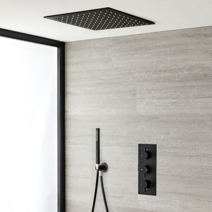 2-weg Thermostatische Inbouwdouchekraan + Handdouche Combi + Verzonken Plafond Douchekop 40x40cm RVS Mat Zwart - Nox