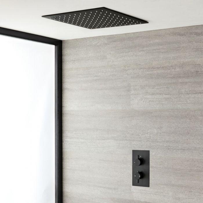 1-weg Thermostatische Inbouwdouchekraan + Verzonken Plafond Douchekop 40x40cm RVS Mat Zwart - Nox