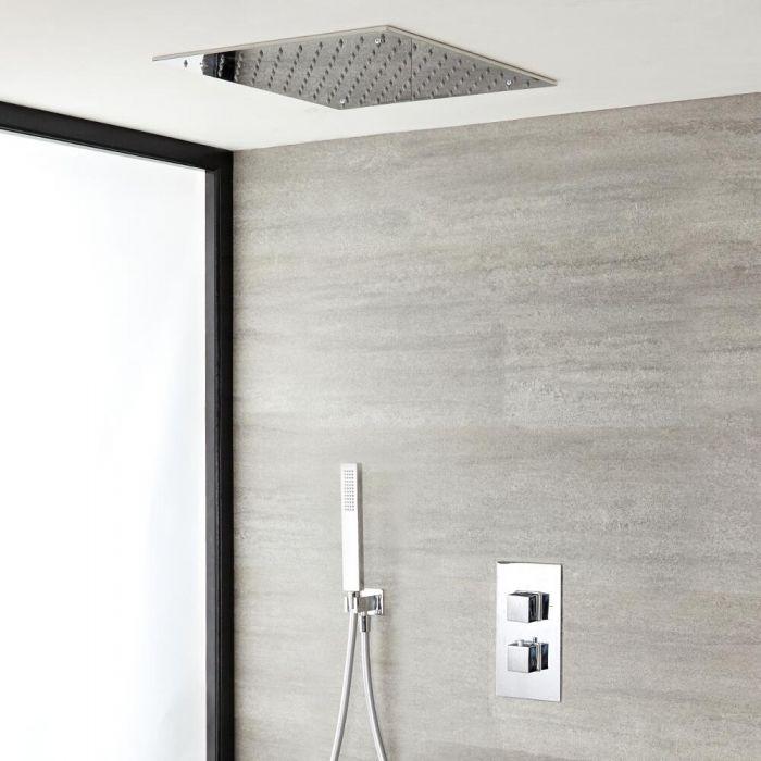 2-weg Inbouw Thermostaatkraan met Handdouchecombinatie en Plafond Regendouchekop 40 x 40cm   Kubix