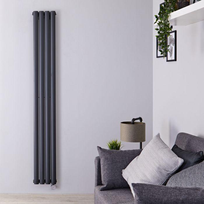 Designradiator Elektrisch Thermostatisch Verticaal Dubbelpaneel Antraciet 178cm x 23,6cm | Revive