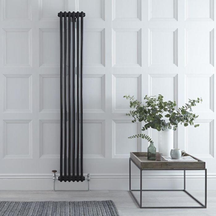 Designradiator Verticaal Klassiek Zwart 180cm x 29cm x 6,8cm 934 Watt - Windsor
