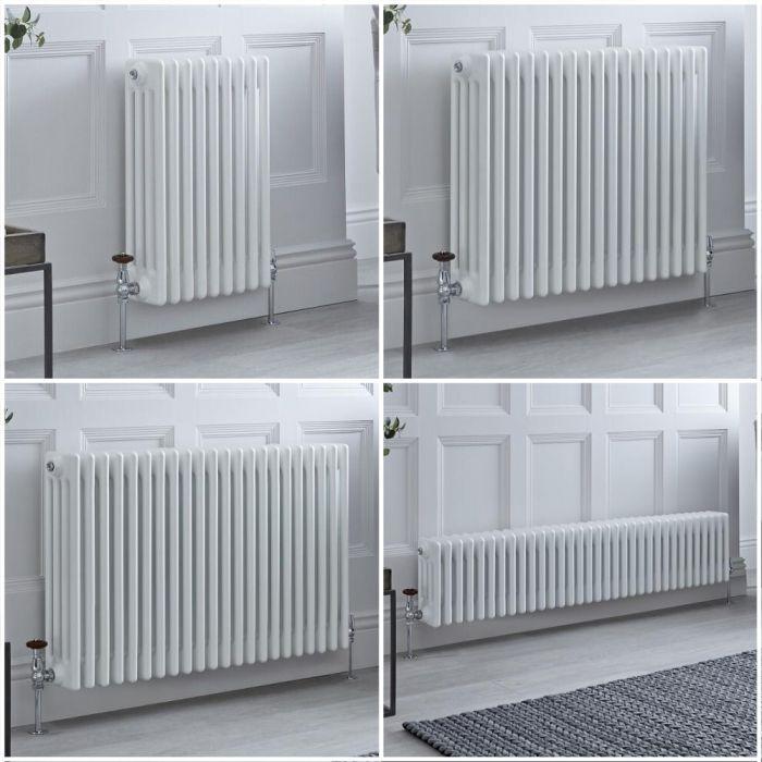 Kolomradiator Horizontaal 4-Kolommen Klassiek Wit | Keuze van Afmetingen en Poten | Windsor