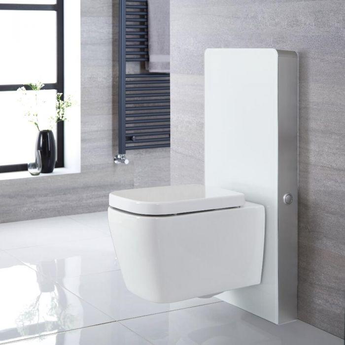 Hangend Toilet   Milton Stortbak Ombouw Touch-free Bedieningspaneel Wit 50cm   Saru