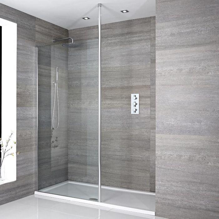 Inloopdouche 1 Vaste Wand met Chromen Paal|Sera en Keuze Douchebak Wit| Maxon