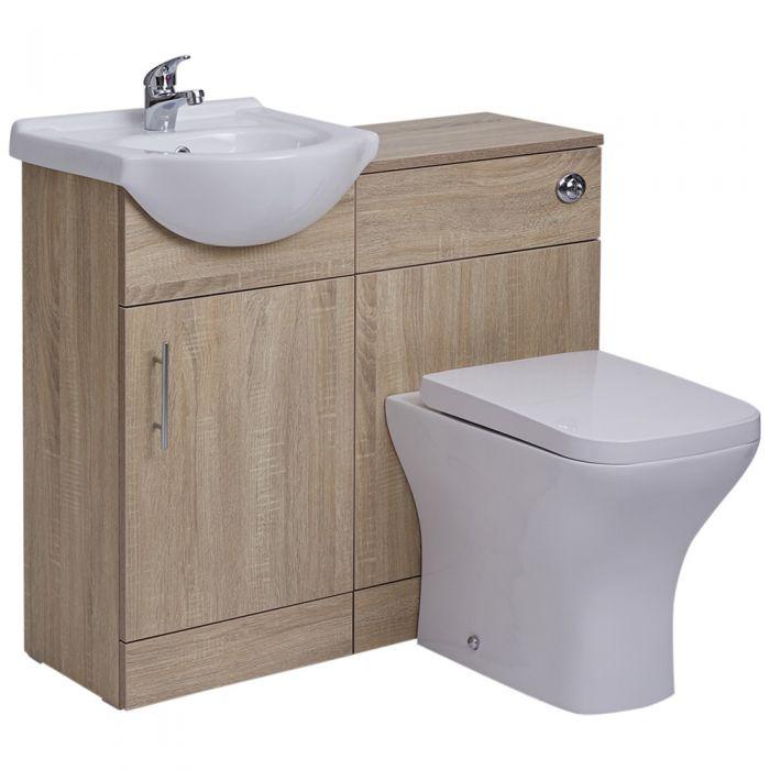 BASIC Wastafelmeubel & Toiletcombinatie 94cm x 82cm x 81cm (gehoekt)