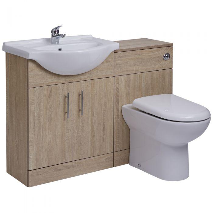 BASIC Wastafelmeubel & Toiletcombinatie 114cm x 85cm x 81cm