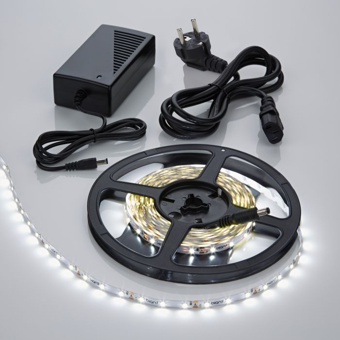 1 x IP20 3528 LED strip verlichting incl Driver & Kabel - 5 meter - Koel Wit