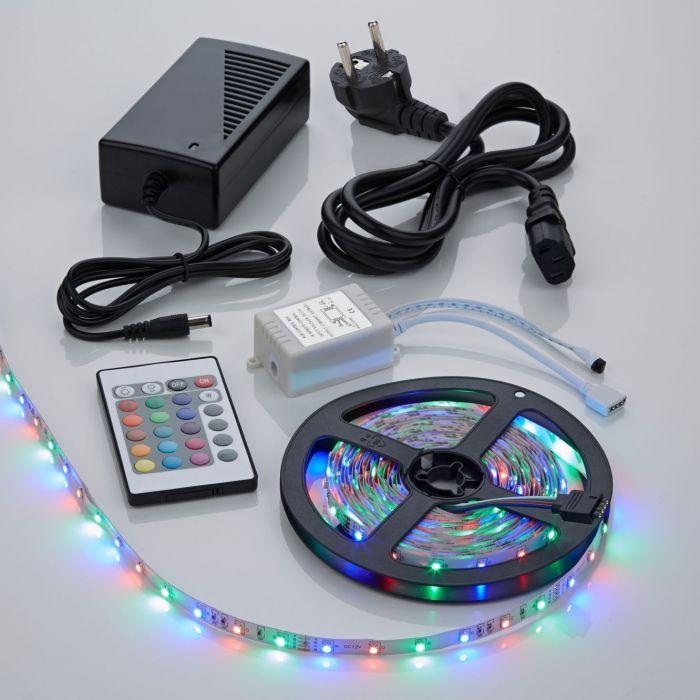 1 x IP20 3528 RGB LED strip verlichting incl Driver, IR Controller & Kabel - 5 meter