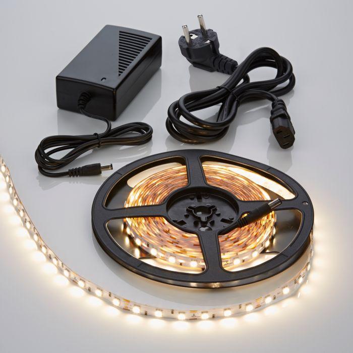 1 x IP20 5050 LED strip verlichting incl Driver & Kabel - 5 meter - Warm Wit