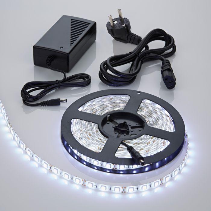 1 x IP20 5050 LED strip verlichting incl Driver & Kabel - 5 meter - Koel Wit