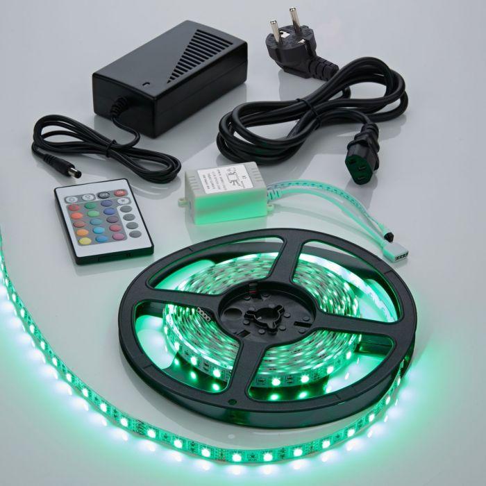 1 x IP20 5050 RGB LED strip verlichting incl Driver, IR Controller & Kabel - 5 meter