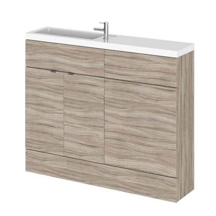 110cm x 25,5cm Modern Drijfhout effect Staand Wastafel & Toiletmeubel-combinatie