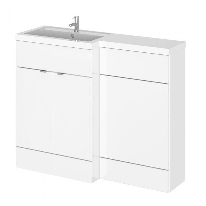 110cm x 35,5cm Modern Wit Hoogglans Staand Wastafel & Toiletmeubel-combinatie - Linker Uitvoering