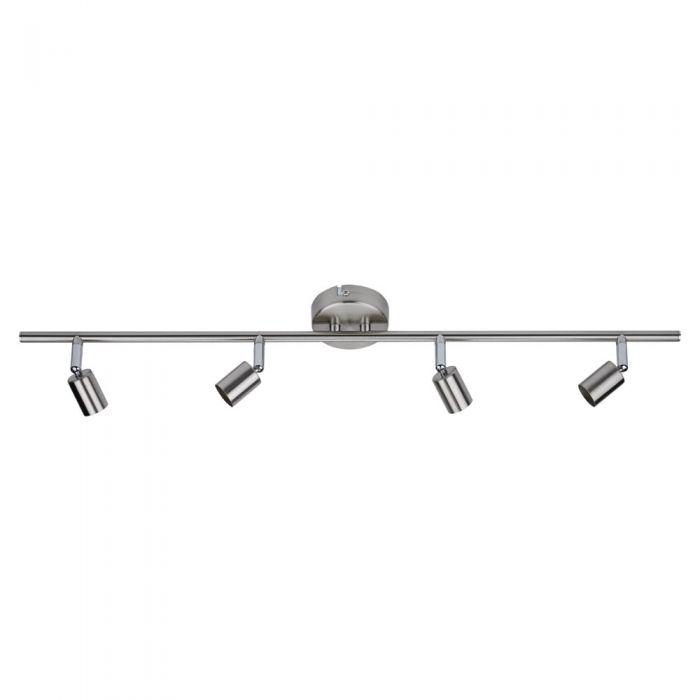 1 x Satijn nikkel GU10 RVS Plafondspot met 4 spots
