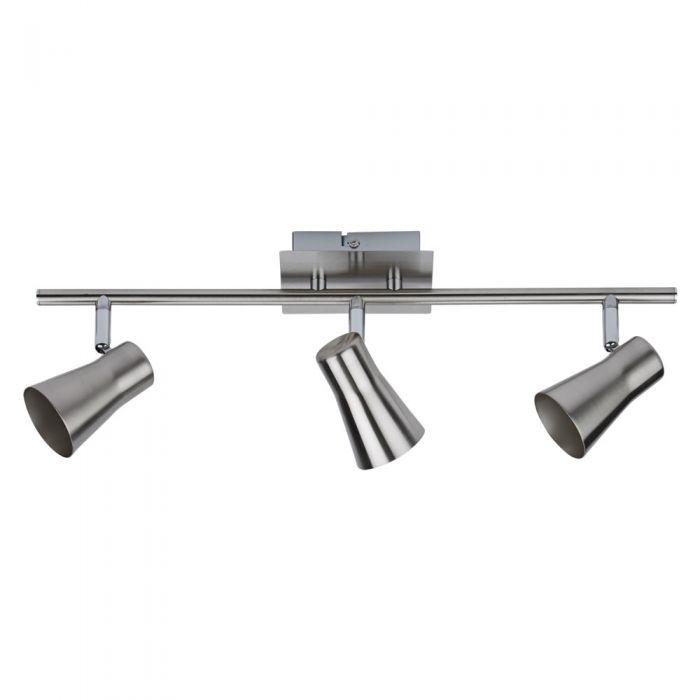 1 x GU10 RVS Plafondspot - Satijn Nikkel - met 3 spots
