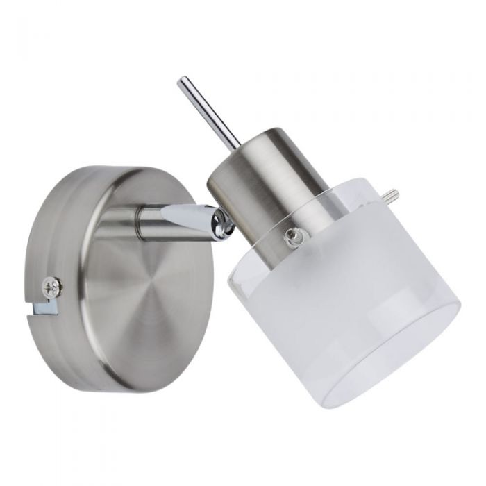 1 x GU10 Spotlight - Satijn nikkel & Mat glas