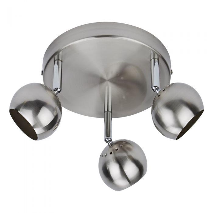 1 x RVS GU10 Plafondspot met 3 spots - Satijn Nikkel