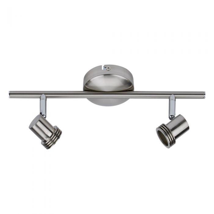 1 x GU10 RVS Plafondspot x 2 spots - Satijn Nikkel