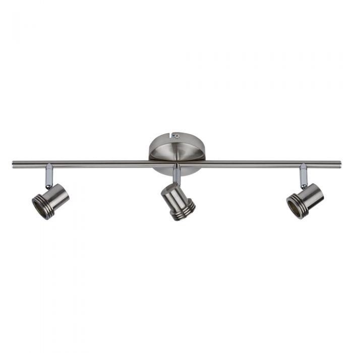 1 x GU10 RVS Plafondspot met 3 spots - Satijn Nikkel
