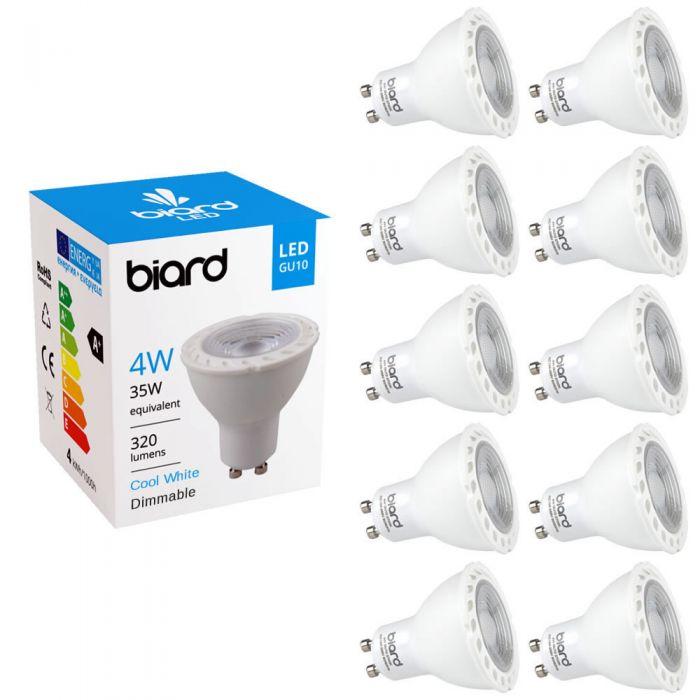 Multipak - 10 x GU10 4W LED Spot - Vervangt 35W - Dimbaar