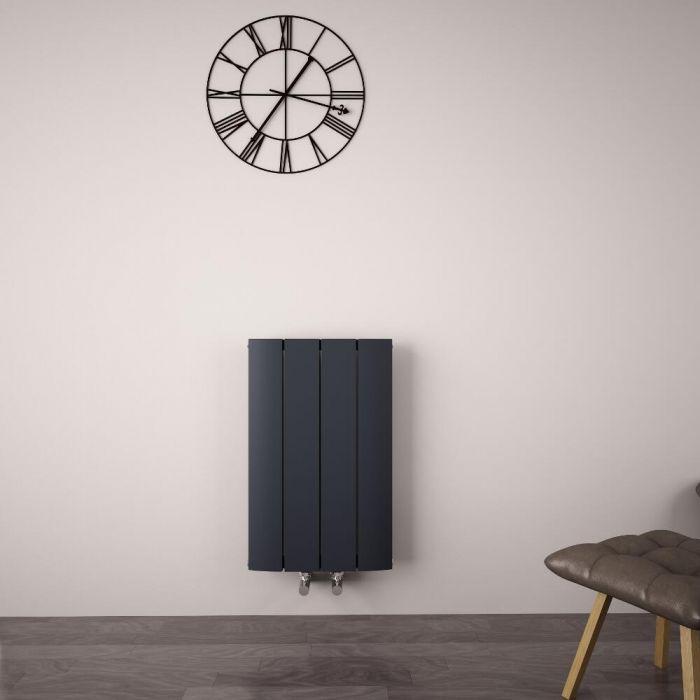 Aurora Designradiator Horizontaal Middenaansluiting Aluminium Antraciet 60cm x 37,5cm x 4,5cm 512 Watt