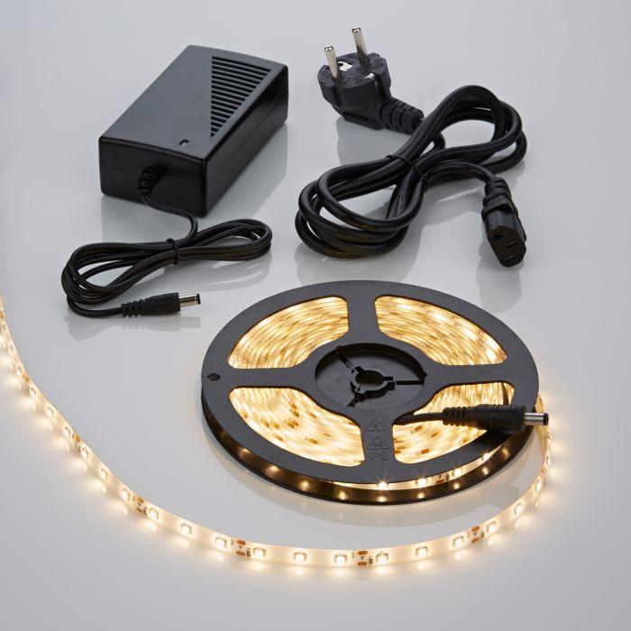 1 x Waterbestendige 3528 LED strip verlichting incl Driver & Kabel - 5 meter - Warm Wit
