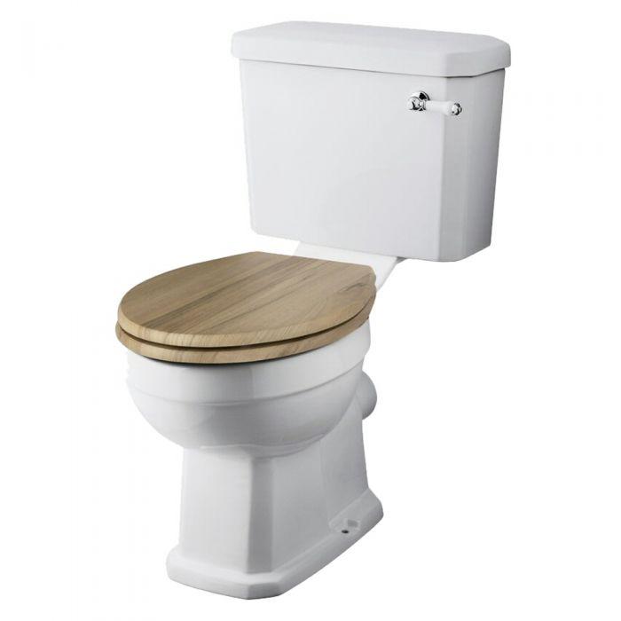 Klassiek Duoblok toilet met Waterreservoir en Houten Toiletzitting