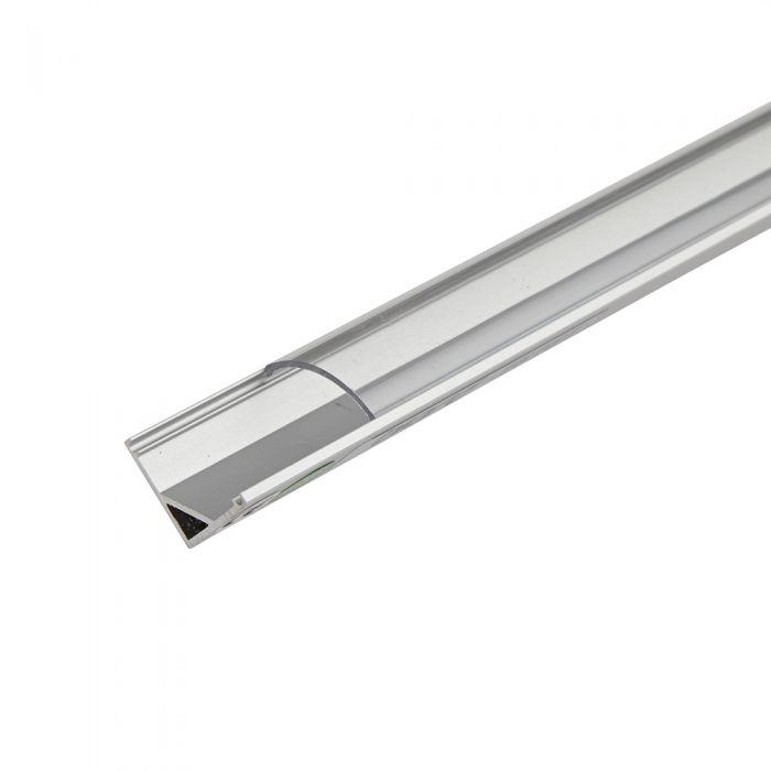 1 Meter Aluminium Hoek Profiel voor LED Stripverlichting - Afgeronde Doorzichtig of Matte Afdekkap