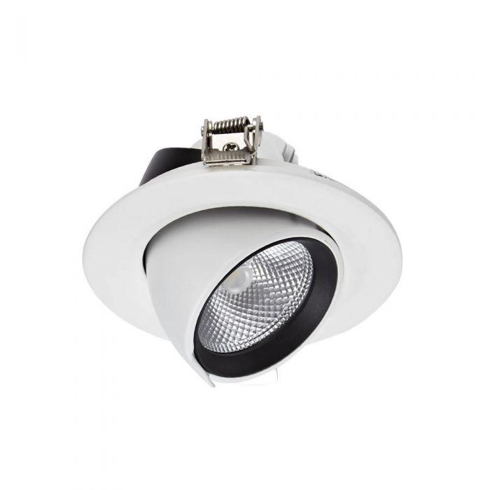 1 x 10W Dimbare & Kantelbare COB LED Inbouwspot incl Lamp & Driver - Wit