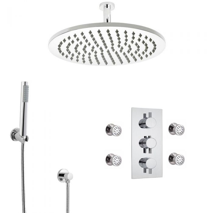 Round Triple Diverter Thermostatic Shower Valve With 300mm Shower Head, Ceiling Arm, Hand Shower and Body Jets