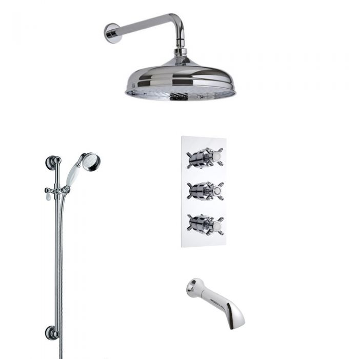 Traditional Triple Diverter Thermostatic Shower Valve with 200mm Head, Wall Arm, Slide Rail and Spout