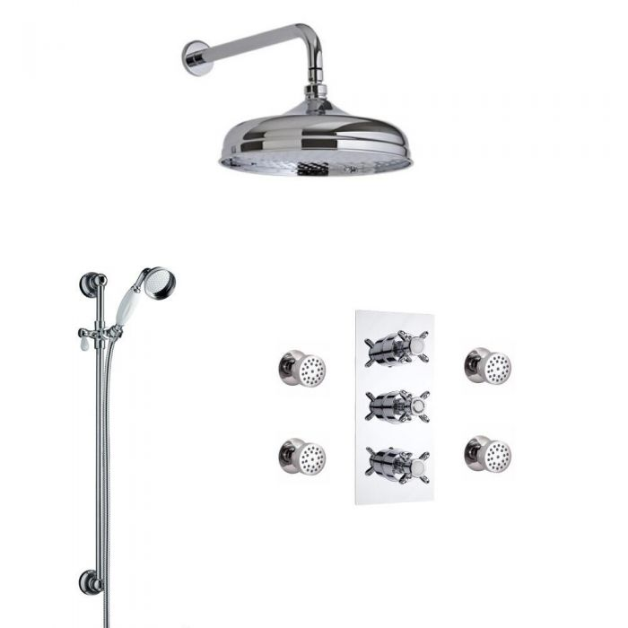 Traditional Triple Diverter Thermostatic Shower Valve with 200mm Head, Wall Arm, Slide Rail and Body Jets