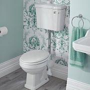 Mote Halfhoog Klassiek Toilet met Reservoir en Houten Toiletzitting