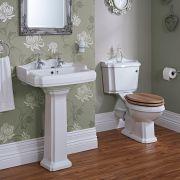 Klassieke 2-gats (vierkante) Wastafel en Toiletcombinatie